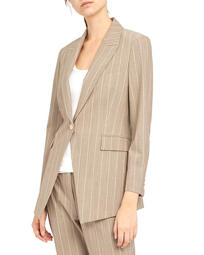 Etiennette Traceable Wool Striped Blazer
