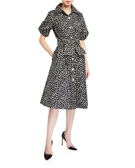 Rickie Freeman for Teri Jon Polka-Dot Puff-Sleeve Belted Shirtdress