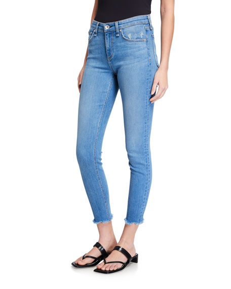 Rag & Bone Cate Mid-Rise Skinny Ankle Fray Jeans
