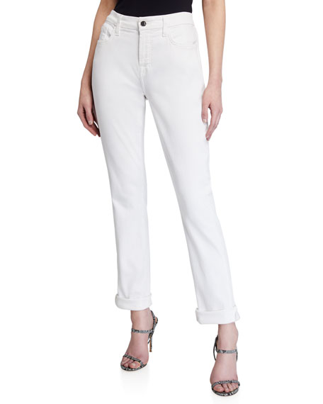 Jen7 by 7 for All Mankind Straight Crop Rolled Jeans