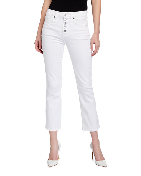 Veronica Beard Jeans Carolyn Button-Front Cropped Flare Jeans