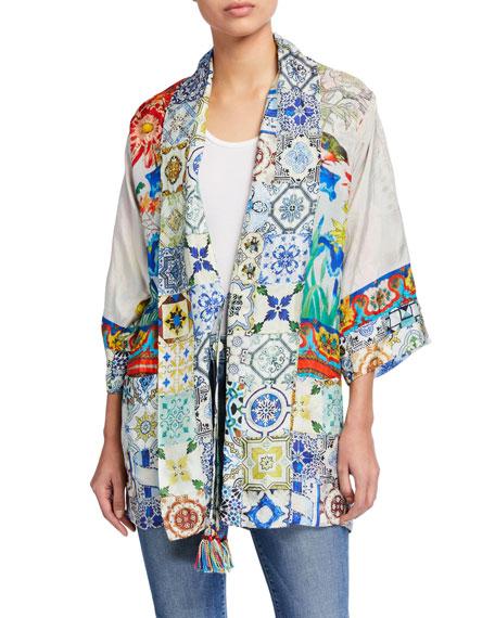 Johnny Was Cassie Printed Silk Reversible Kimono