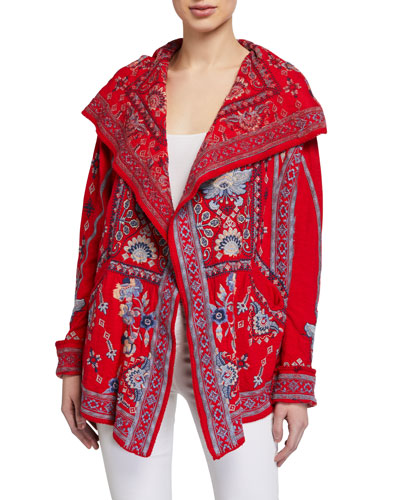 Klios Embroidered Short Hooded Jacket