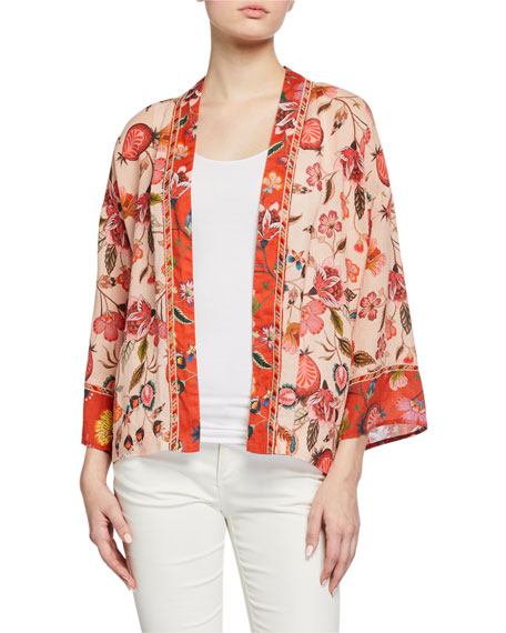 Johnny Was Short Floral-Printed Linen Kimono