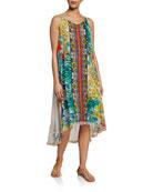 Johnny Was Avalon Printed Sleeveless Dress w/ Slip
