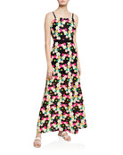 Milly Adeline Floral Crochet Sleeveless Long Dress