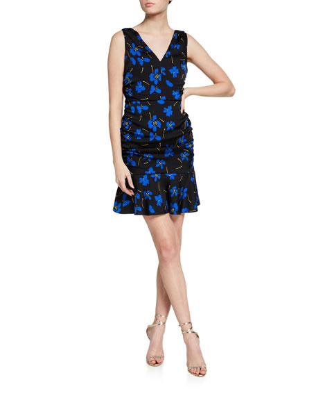 Milly Pam Butterfly Floral Sleeveless Stretch Silk Dress
