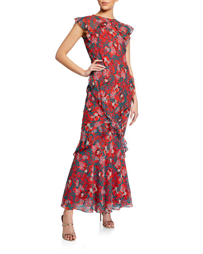 Tamara B Printed Ruffle Dress