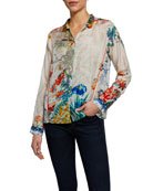 Johnny Was Amelia Floral Print Long-Sleeve Button-Front Silk