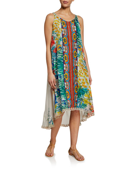 Johnny Was Plus Size Avalon Printed Sleeveless Dress w/ Slip