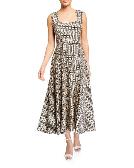 Saloni Lottie Printed Midi Dress w/ Belt