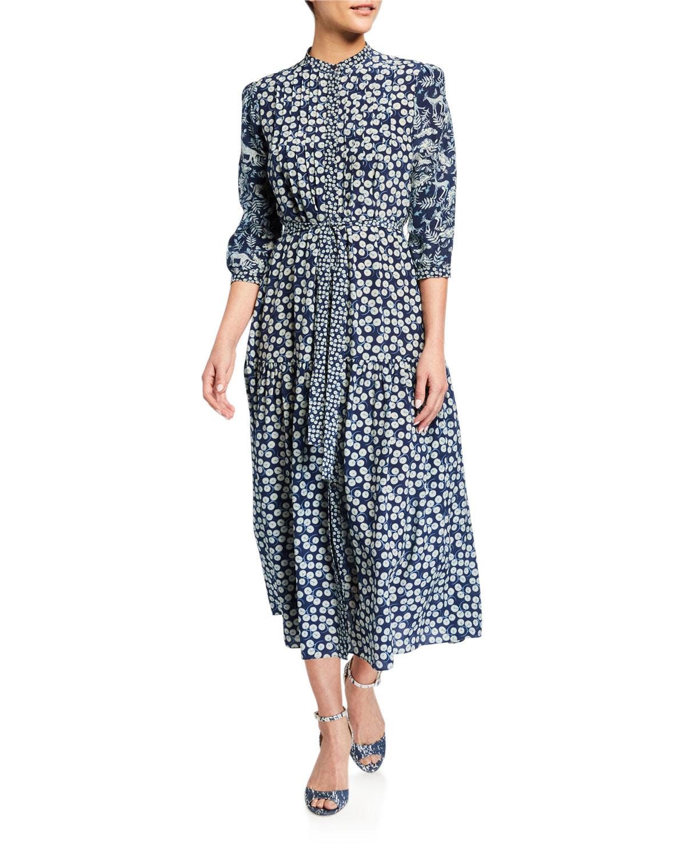 Saloni Dresses REMI C 3/4-SLEEVE MIDI DRESS