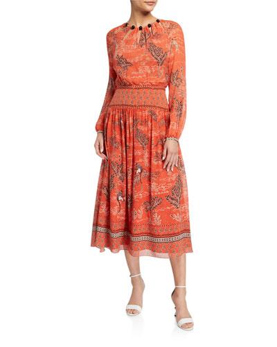 Thala Long-Sleeve Printed Dress w/ Beaded Neckline