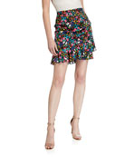 Milly Aliza Garden Floral Stretch Silk Skirt