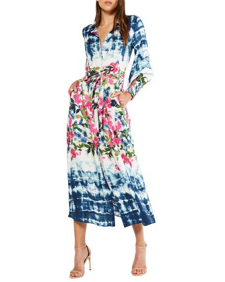 MISA Los Angeles Bettina Printed Tie-Waist Midi Dress
