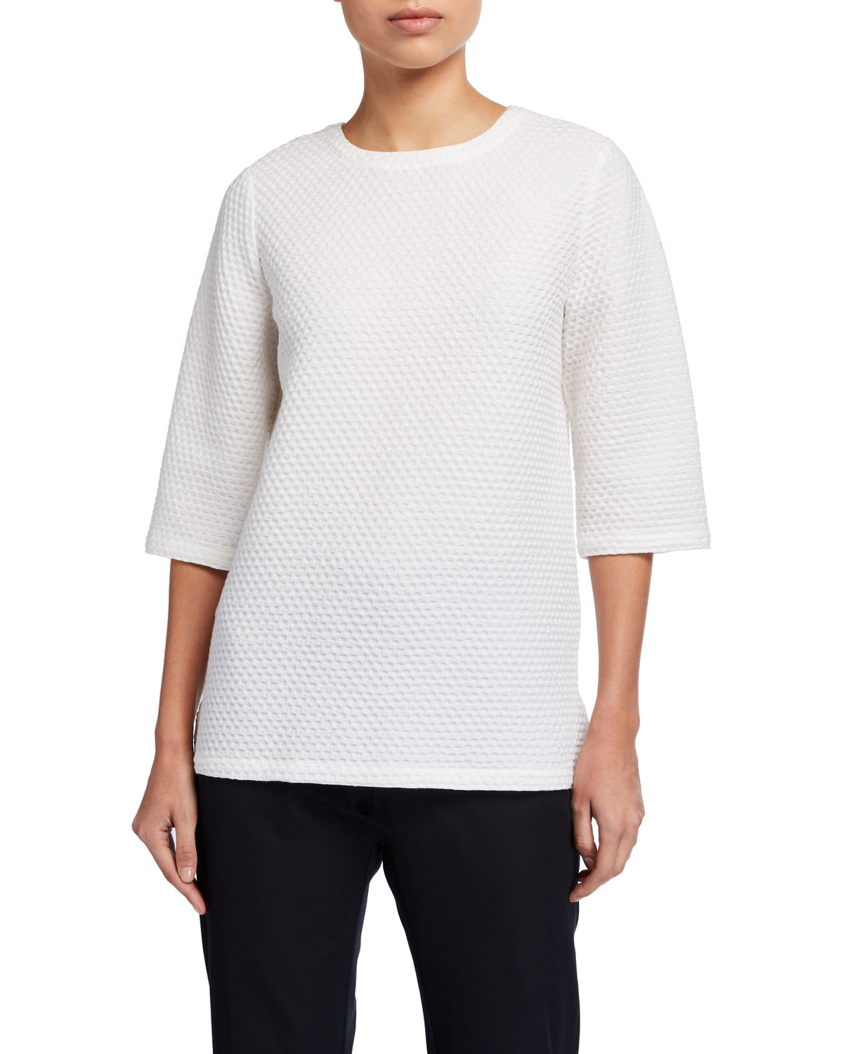 Eileen Fisher Tops PLUS SIZE HONEYCOMB TEXTURED ELBOW-SLEEVE BOXY TOP