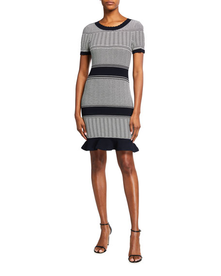 Milly Striped Wave Short-Sleeve Dress