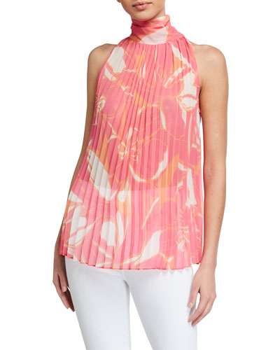 Brook Stencil Floral Print Pleated High-Neck Top