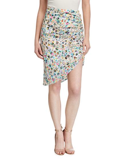Milly Benny Wildflower Print Asymmetrical Silk Skirt