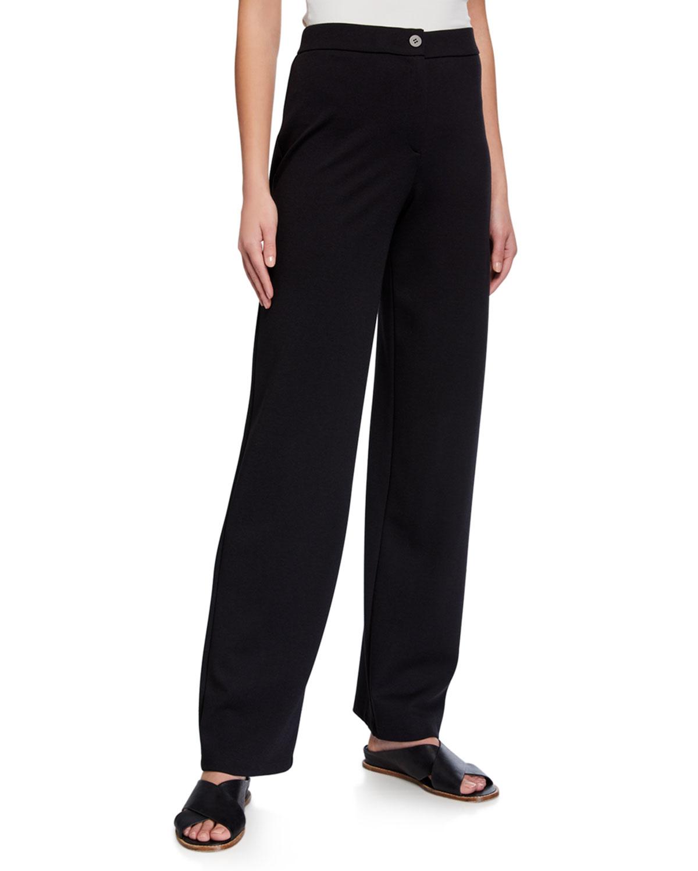 Eileen Fisher Pants PLUS SIZE FLEX PONTE ZIP-FRONT STRAIGHT-LEG PANTS