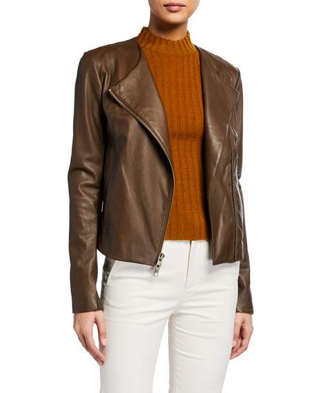 Vince Rib-Panel Leather Moto Jacket