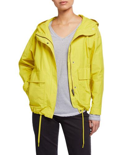Petite Lightweight Organic Cotton/Nylon Two-Pocket Hooded Coat