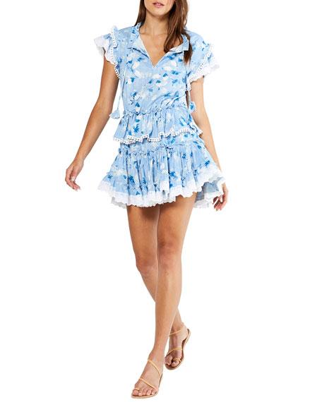 MISA Los Angeles Lilian Tiered Fit-&-Flare Mini Dress