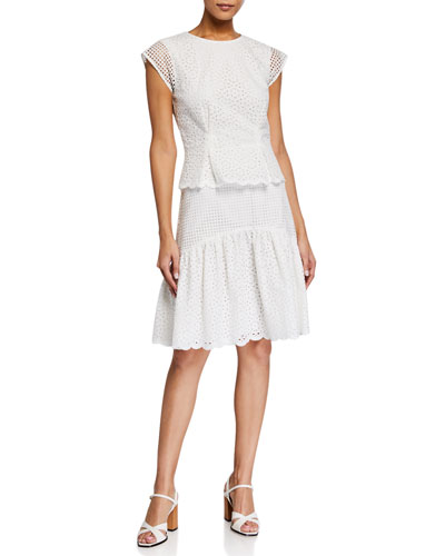 Annika Tiered Eyelet Mesh Short-Sleeve Dress
