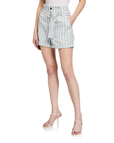 FRAME Casual Striped Linen Shorts