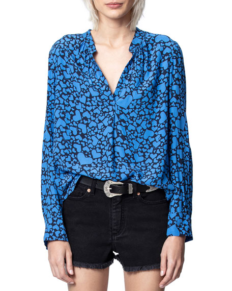 Zadig & Voltaire Tink Heart-Print Long-Sleeve Top