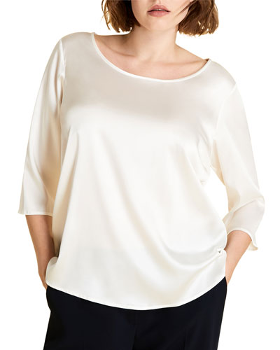 Plus Size Bamby 3/4-Sleeve Satin Top
