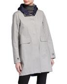 Herno Woven Half Coat with Hood
