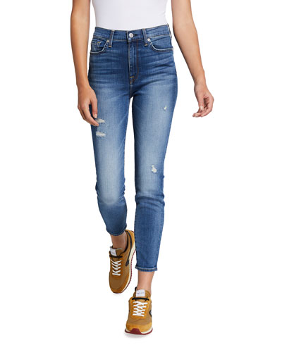 High-Rise Distressed Skinny Ankle Jeans