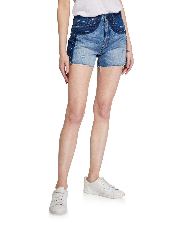 Double Jean Cutoff Shorts