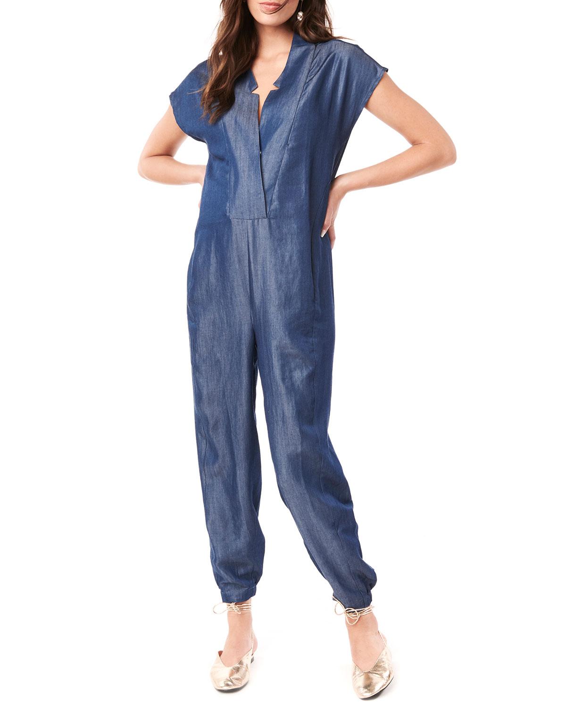 Maternity Celia Short-Sleeve Denim Jumpsuit