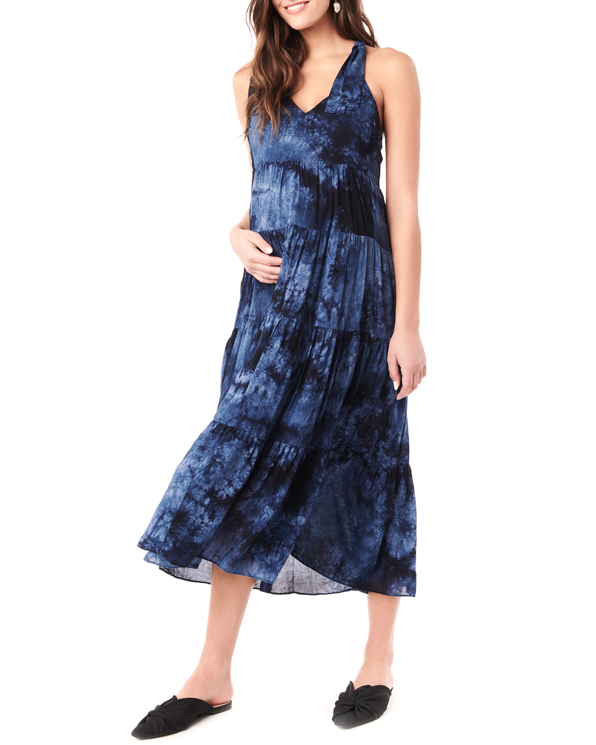 Maternity Rio Tie Dyed Tiered Racerback Dress