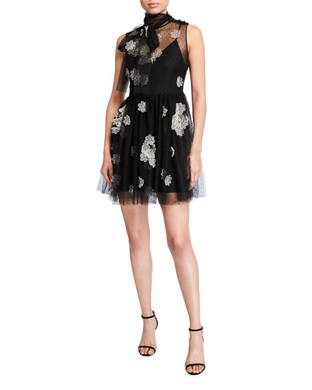 REDValentino Short Point d'Esprit Tulle Dress w/ Floral Organza Applique
