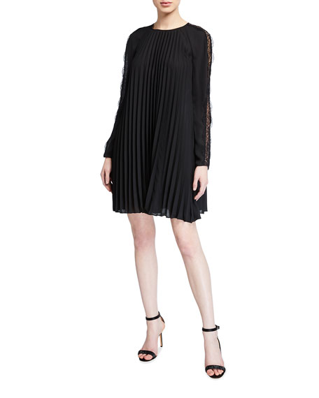 REDValentino Dopia Pleated Georgette Dress w/ Lace Inset