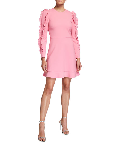 REDValentino Long-Sleeve Cady Tech Dress with Ruffles