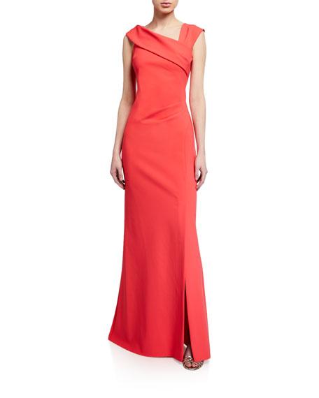 Rickie Freeman for Teri Jon Asymmetric-Neckline Scuba Column Gown