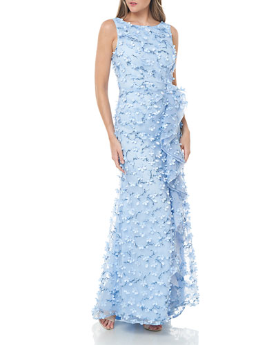 Sleeveless 3D Petal Embellished Gown w/ Cascading Ruffle