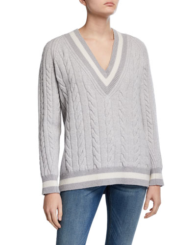 Theon V-Neck Cable Knit Wool Sweater
