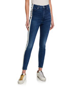 7 for all mankind High-Rise Track-Striped Skinny Jeans