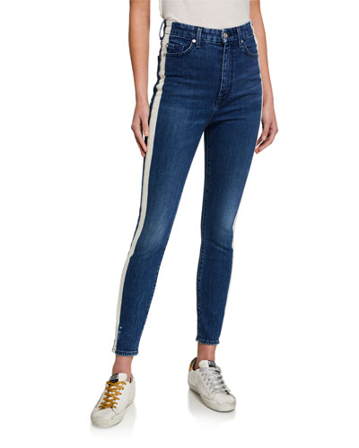 High-Rise Track-Striped Skinny Jeans