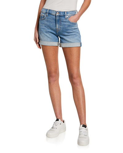 Mid-Rolled Denim Shorts