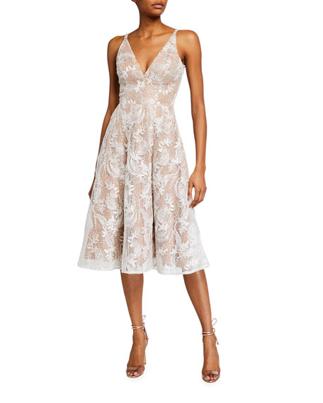 Dress The Population Elisa Lace Overlay Sleeveless Fit-&-Flare Dress