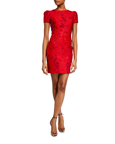 Dress The Population Joyce Floral Embroidered Cap-Sleeve Mini Dress