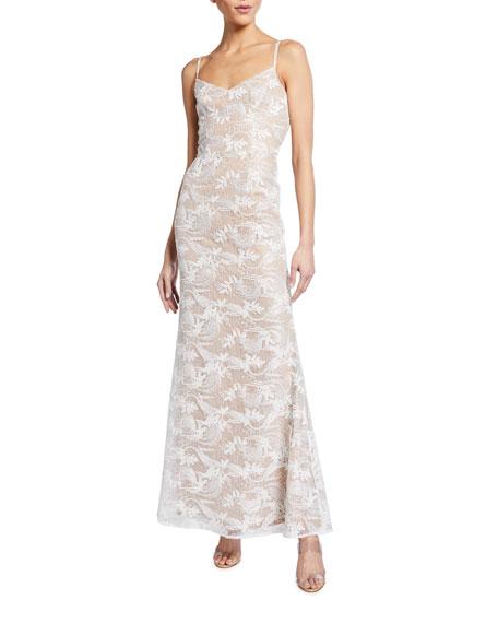 Dress The Population Giovanna Column Gown w/ Tonal Flower Applique