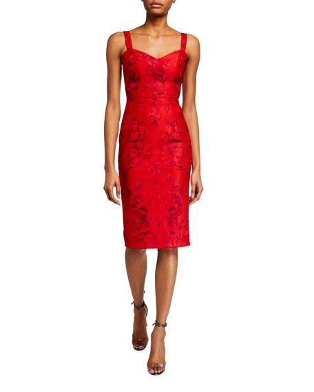 Dress The Population Jaida Floral Embroidered Sweetheart Sheath Dress