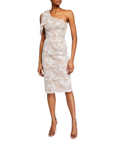 Dress The Population Thalia One-Shoulder Lace Overlay Sheath Dress